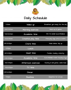 Low ink version of At Home Daily Schedule